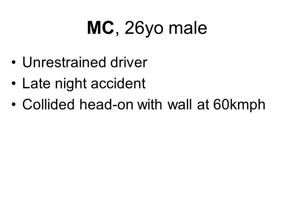 MC, 26yo male Unrestrained driver Late night accident