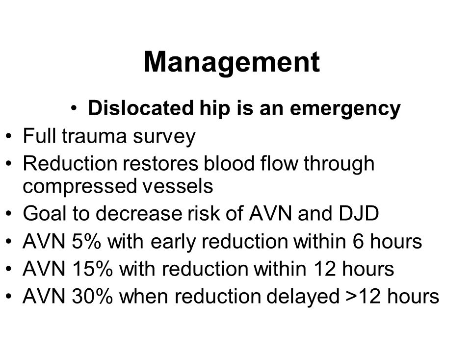 Dislocated hip is an emergency