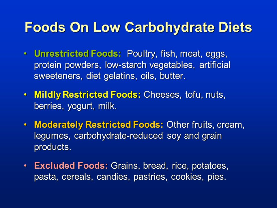 Foods On Low Carbohydrate Diets