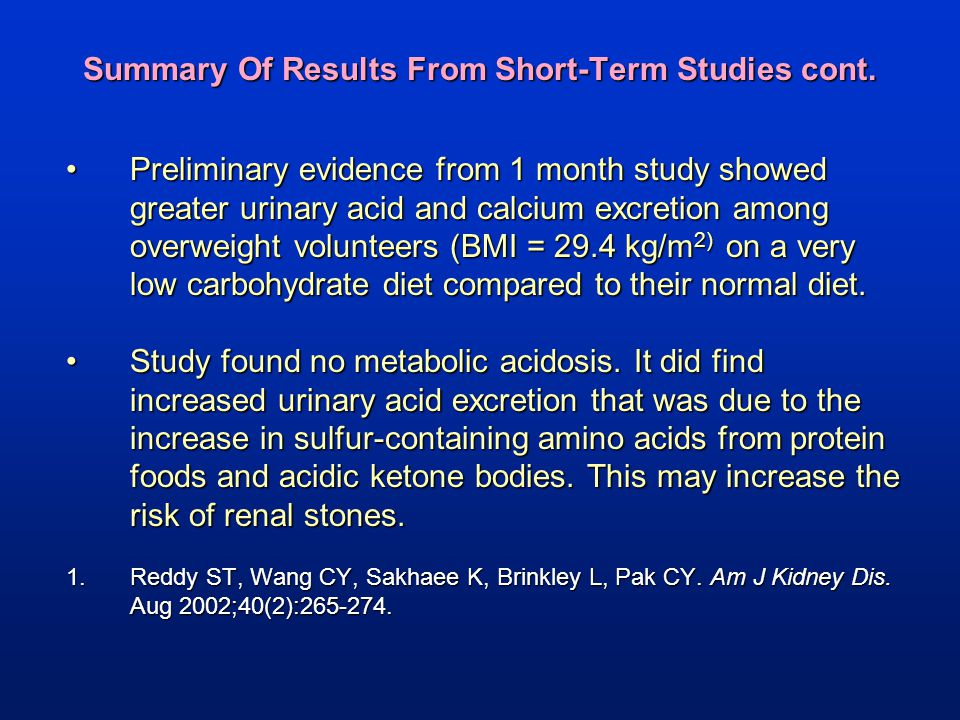 Summary Of Results From Short-Term Studies cont.