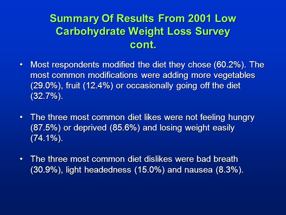 Summary Of Results From 2001 Low Carbohydrate Weight Loss Survey cont.