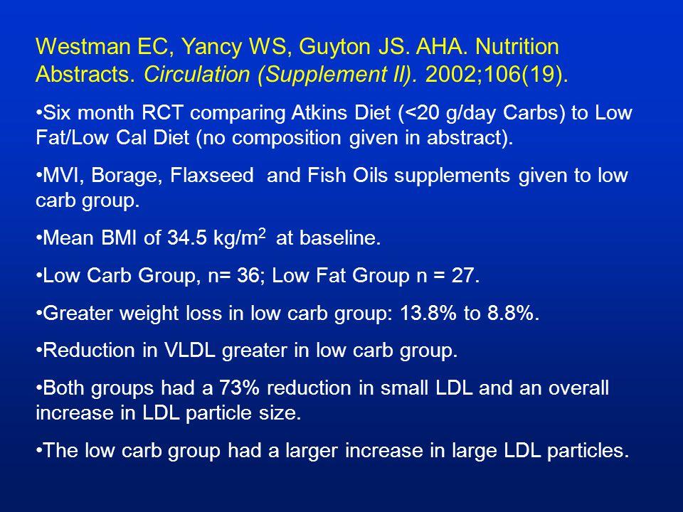 Westman EC, Yancy WS, Guyton JS. AHA. Nutrition Abstracts