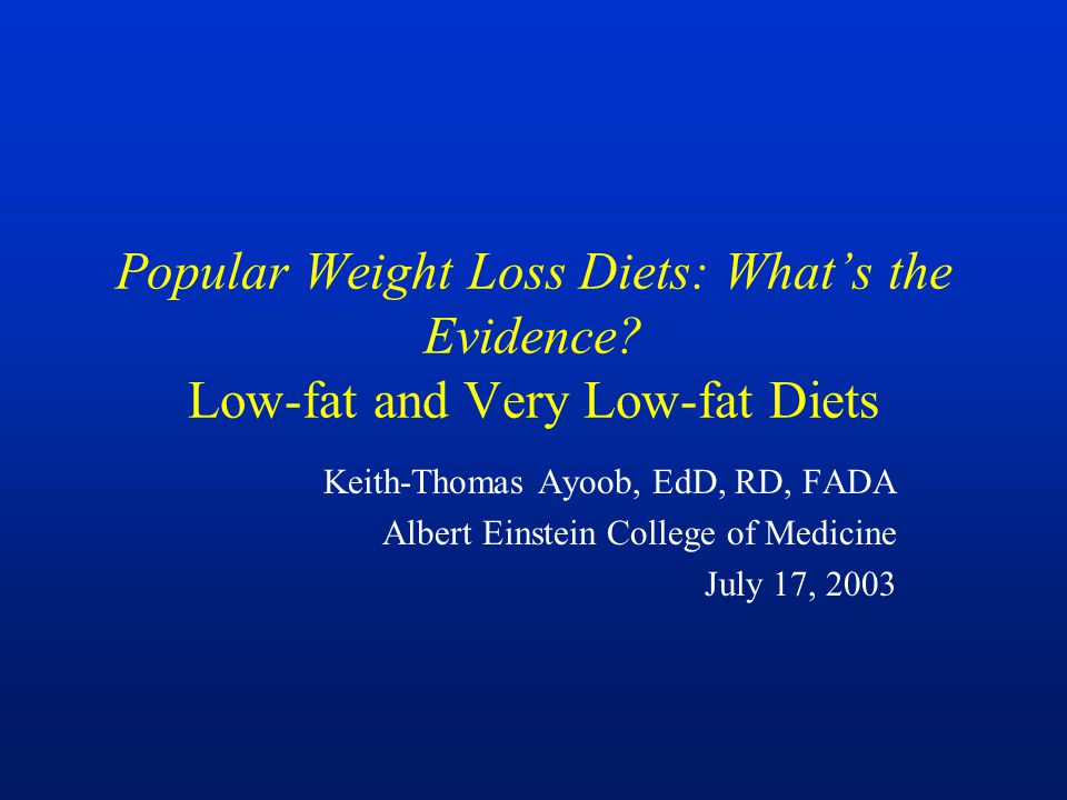 Popular Weight Loss Diets: What's the Evidence