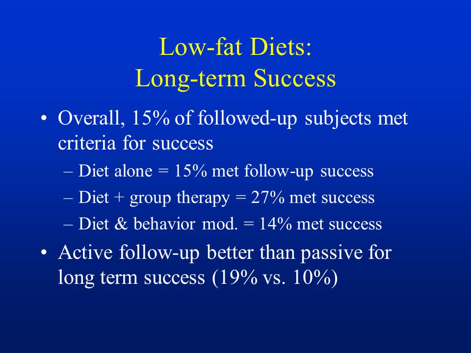 Low-fat Diets: Long-term Success