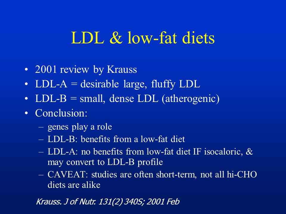 LDL & low-fat diets 2001 review by Krauss