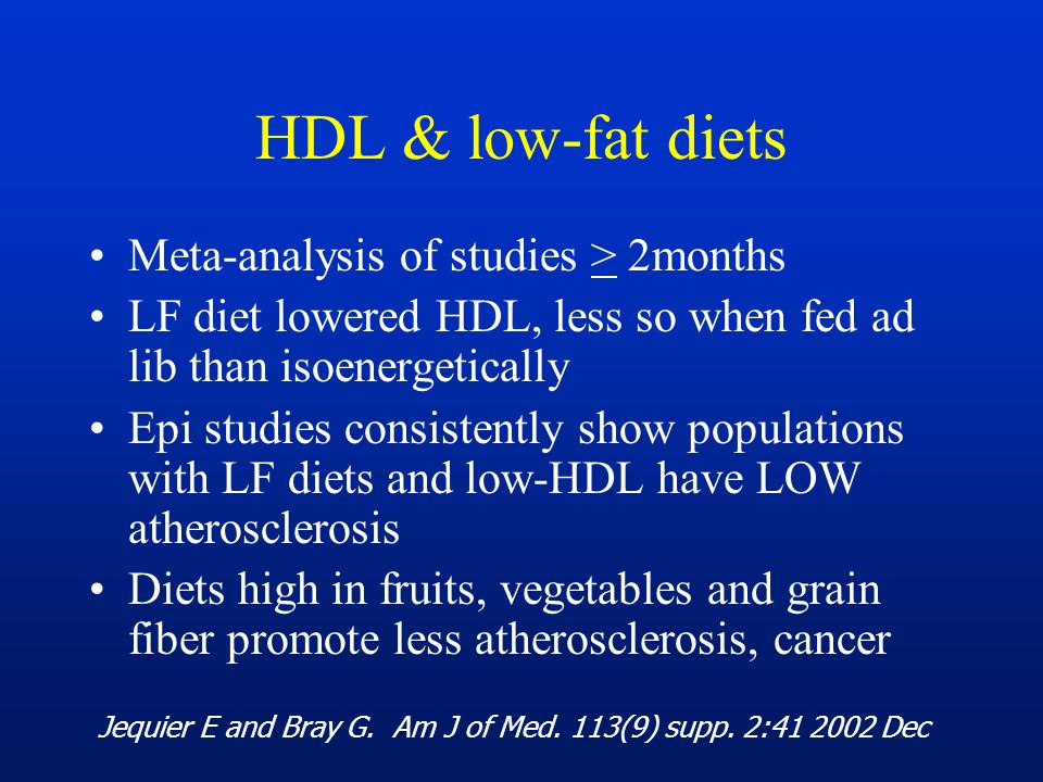 HDL & low-fat diets Meta-analysis of studies > 2months