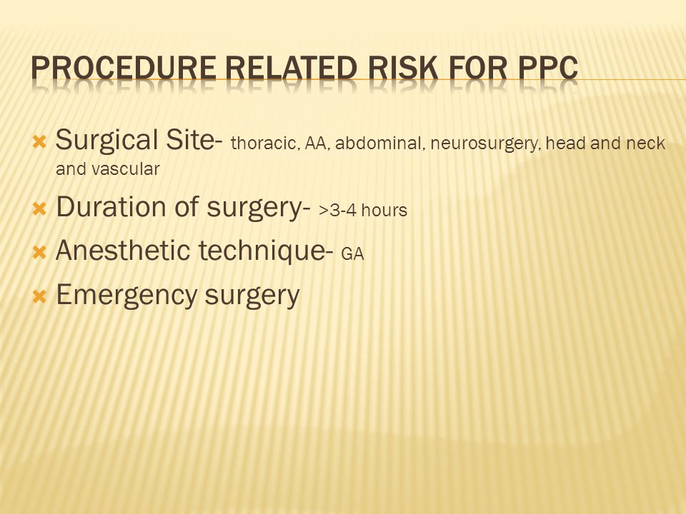 PROCEDURE RELATED RISK FOR PPC