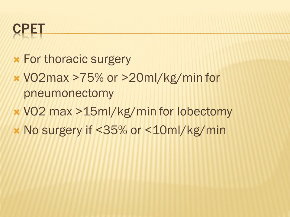 CPET For thoracic surgery