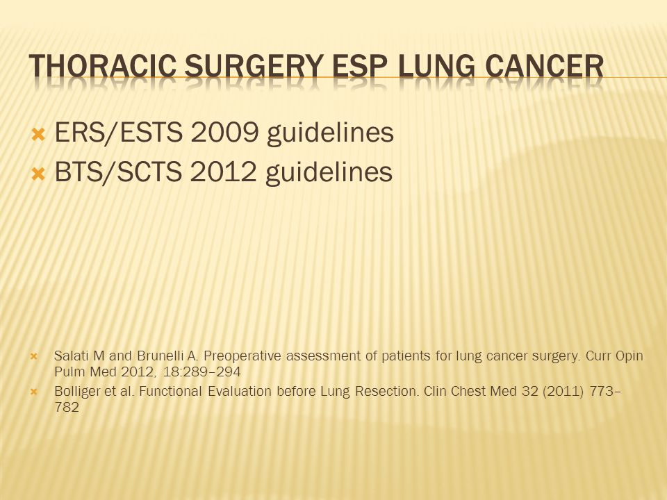 THORACIC SURGERY ESP LUNG CANCER