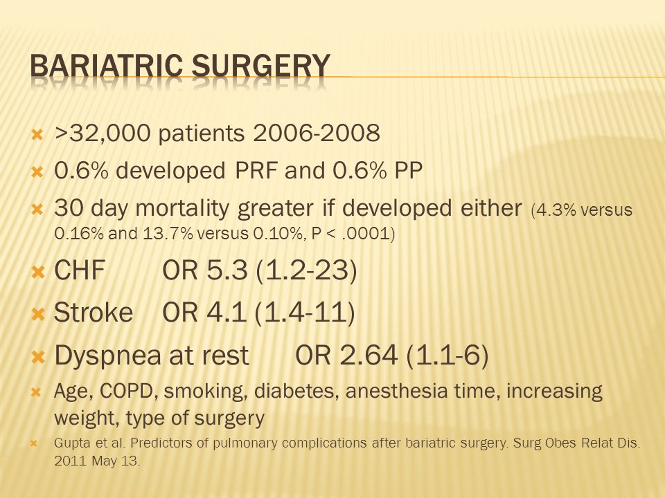 BARIATRIC SURGERY CHF OR 5.3 (1.2-23) Stroke OR 4.1 (1.4-11)