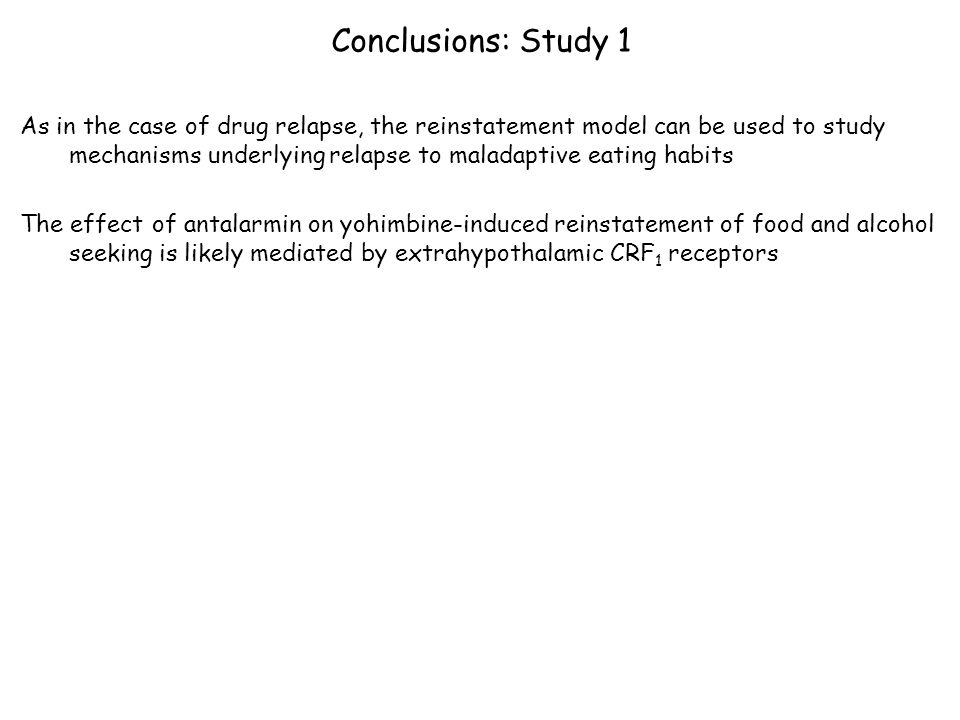 Conclusions: Study 1