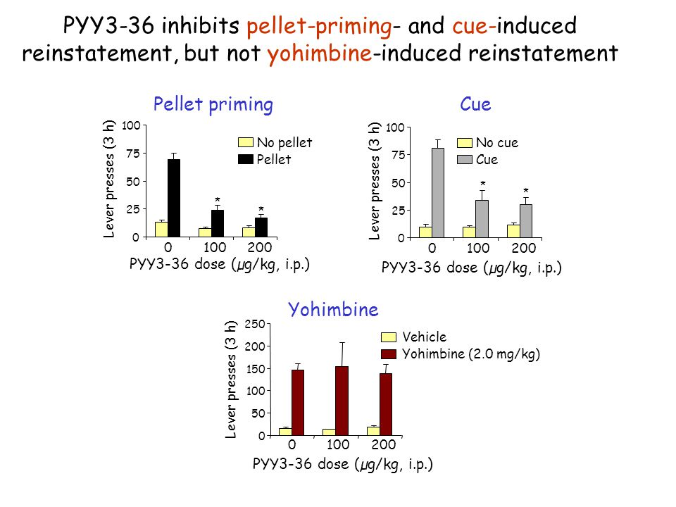 PYY3-36 inhibits pellet-priming- and cue-induced reinstatement, but not yohimbine-induced reinstatement