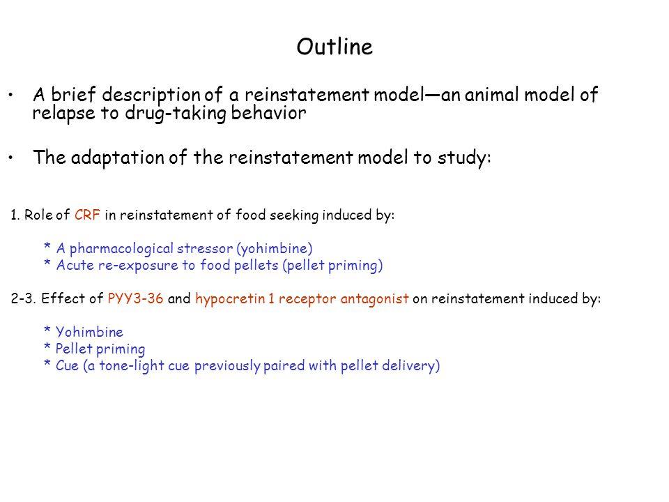 Outline A brief description of a reinstatement model—an animal model of relapse to drug-taking behavior.