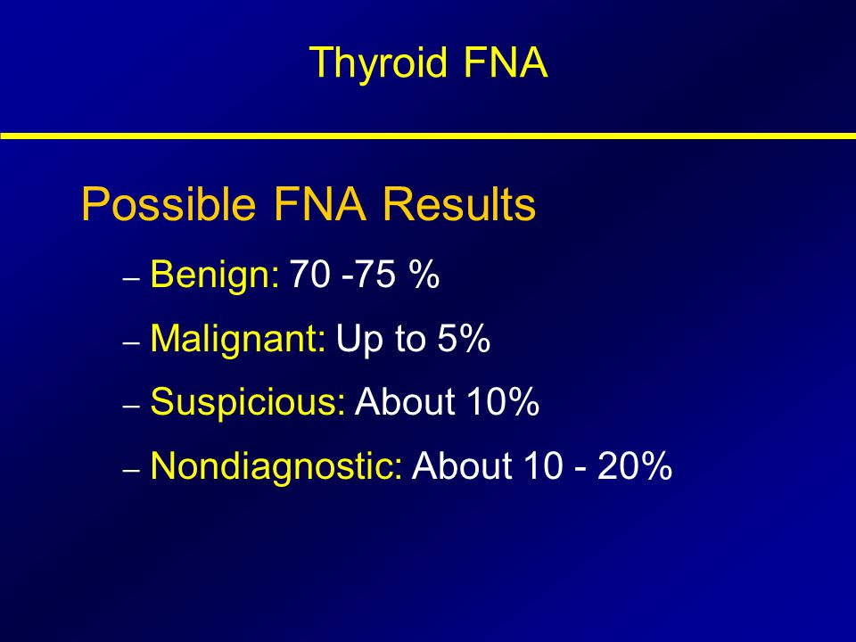 Possible FNA Results Thyroid FNA Benign: 70 -75 % Malignant: Up to 5%