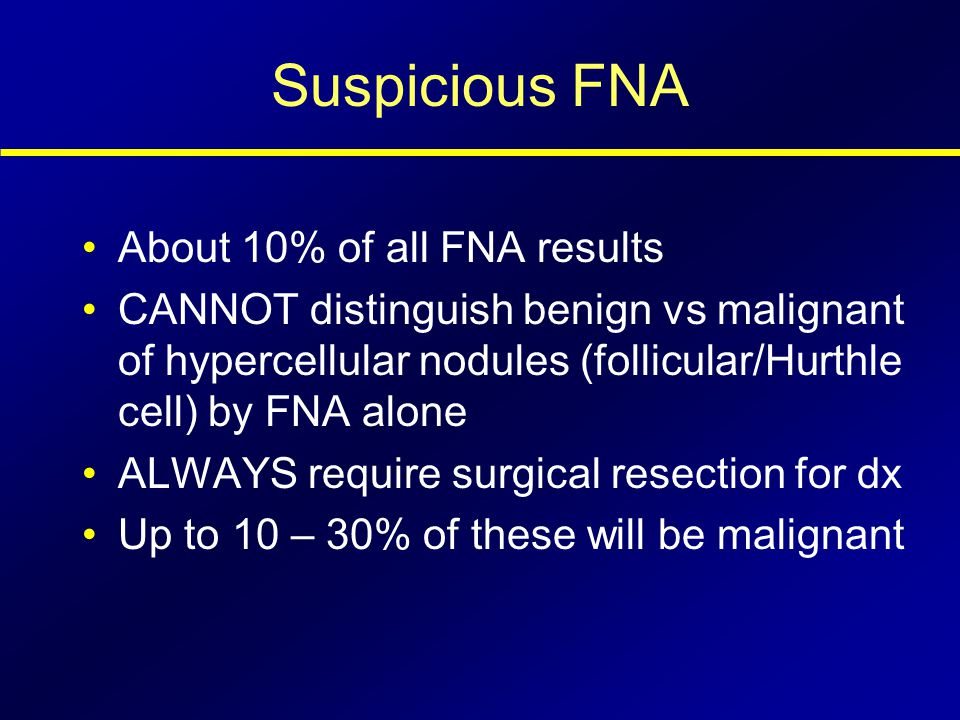 Suspicious FNA About 10% of all FNA results
