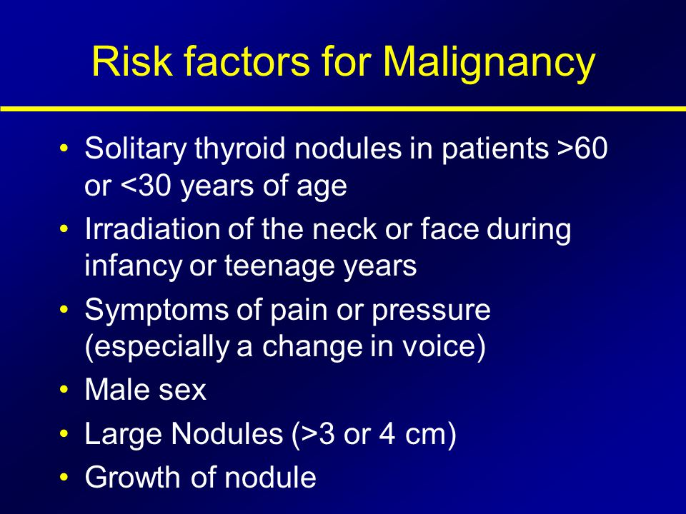 Risk factors for Malignancy