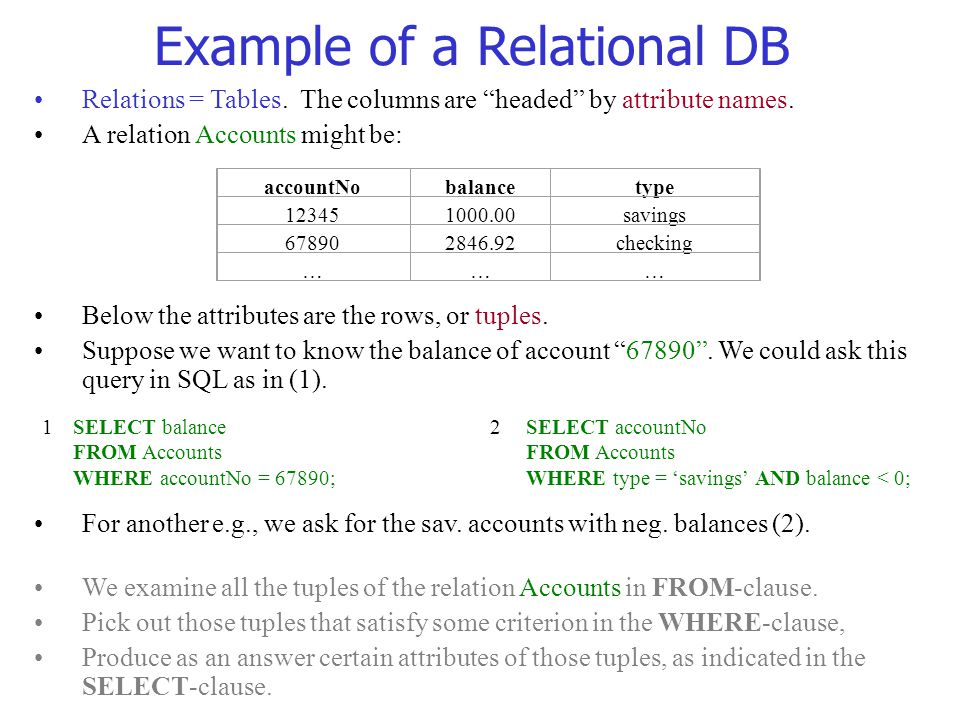 Example of a Relational DB
