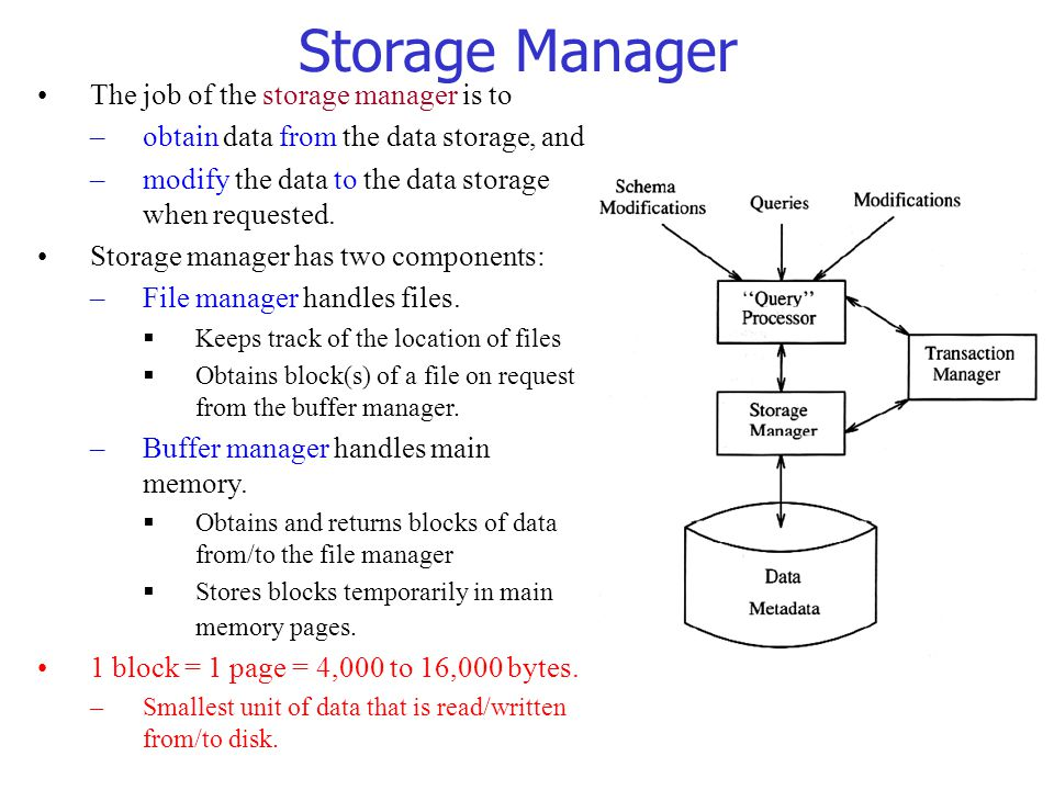 Storage Manager The job of the storage manager is to