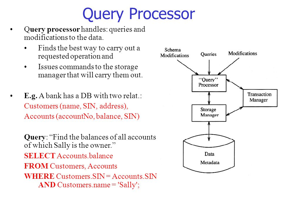 Query Processor Query processor handles: queries and modifications to the data. Finds the best way to carry out a requested operation and.