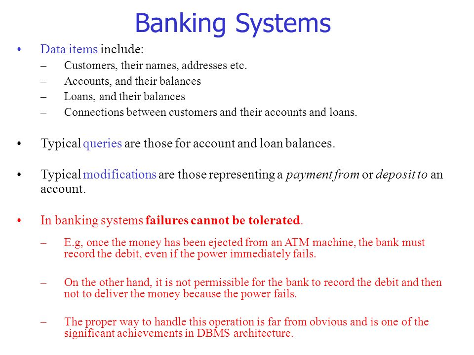 Banking Systems Data items include: