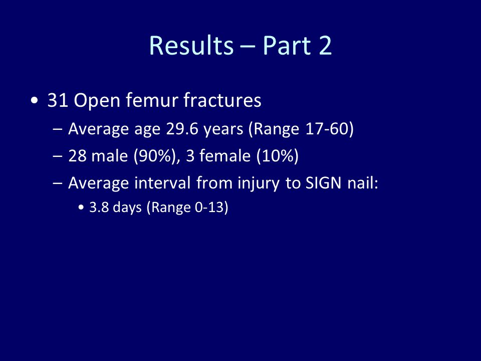 Results – Part 2 31 Open femur fractures