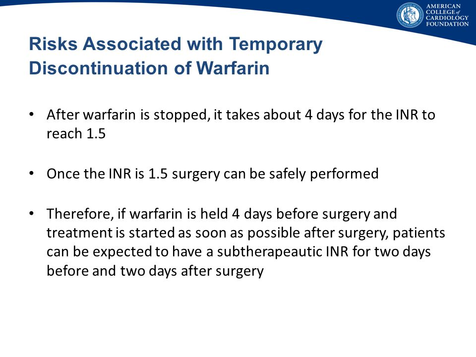 Risks Associated with Temporary Discontinuation of Warfarin