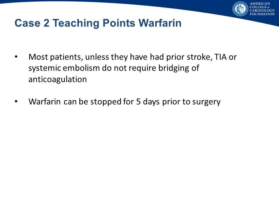 Case 2 Teaching Points Warfarin