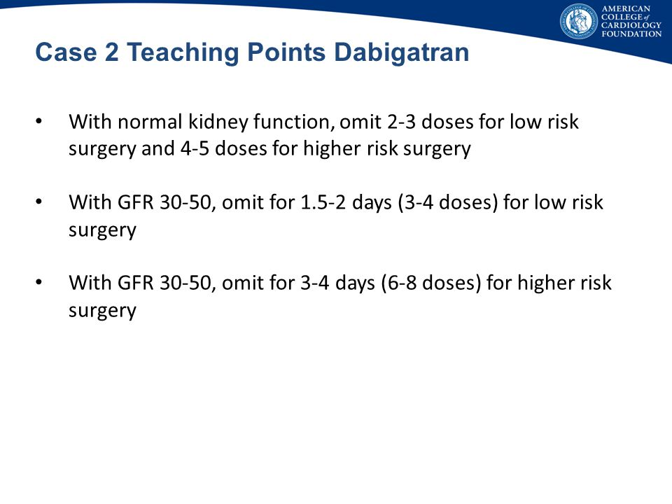 Case 2 Teaching Points Dabigatran