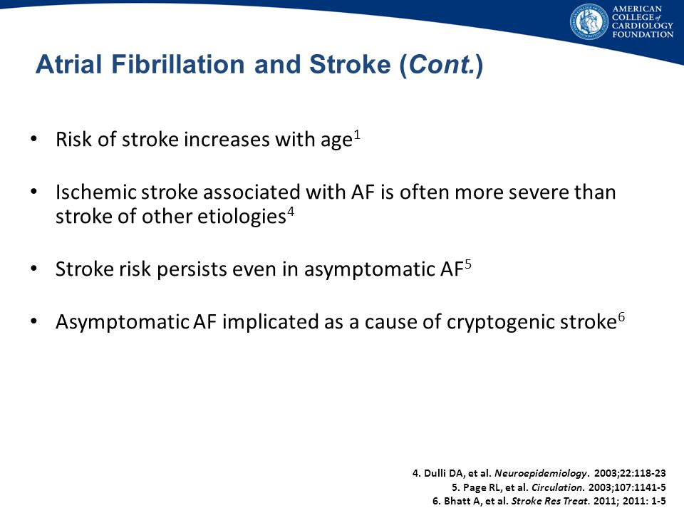 Atrial Fibrillation and Stroke (Cont.)
