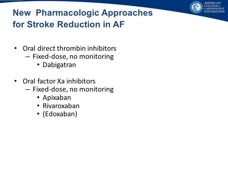 New Pharmacologic Approaches for Stroke Reduction in AF