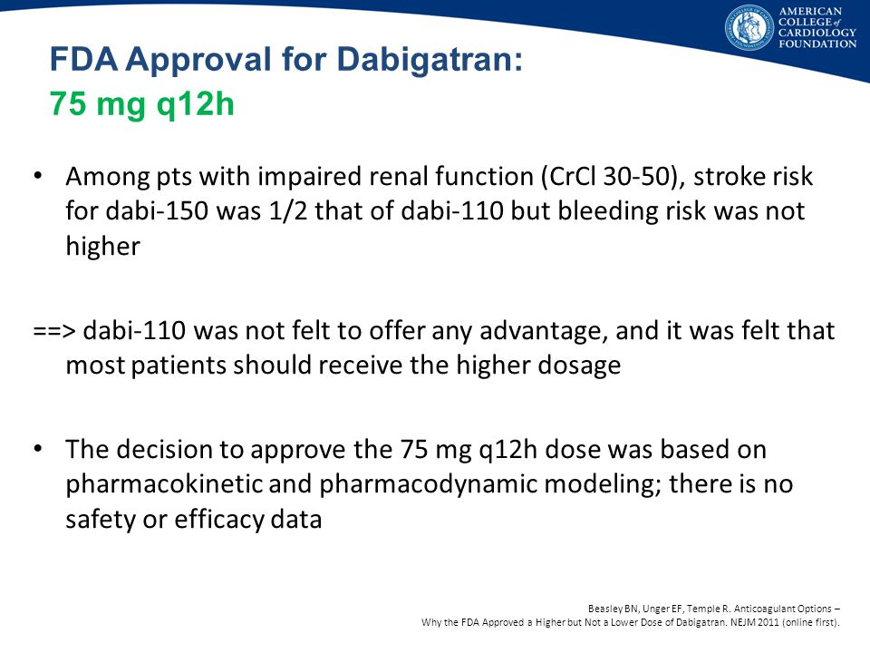 FDA Approval for Dabigatran: 75 mg q12h