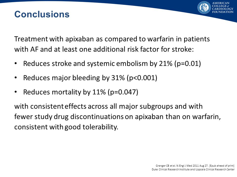 Conclusions Treatment with apixaban as compared to warfarin in patients with AF and at least one additional risk factor for stroke: