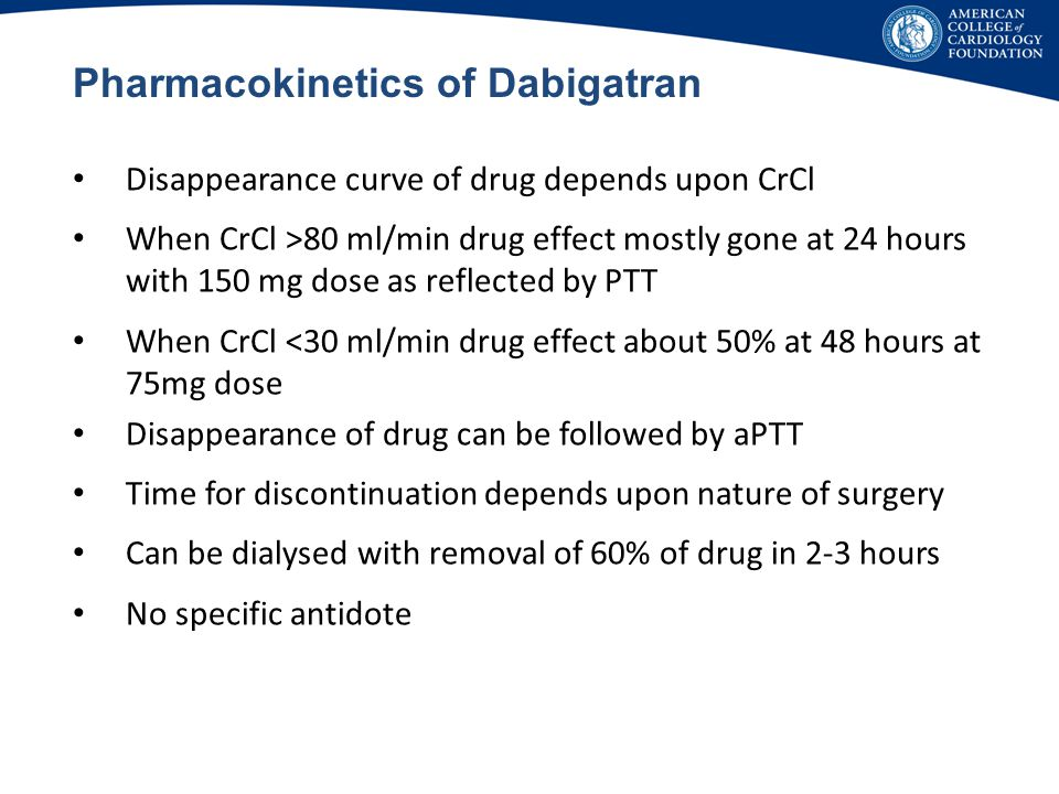 Pharmacokinetics of Dabigatran