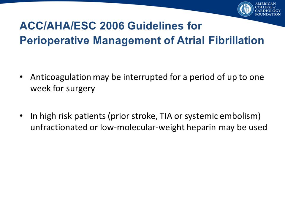 ACC/AHA/ESC 2006 Guidelines for Perioperative Management of Atrial Fibrillation