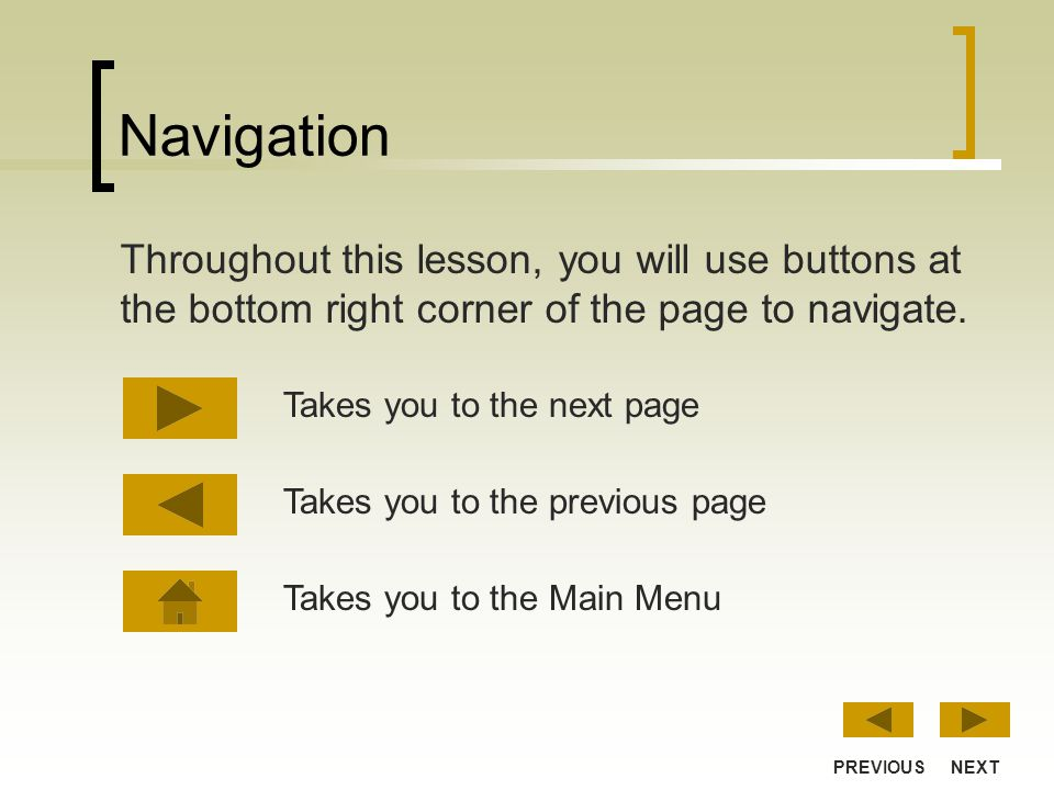 Navigation Throughout this lesson, you will use buttons at the bottom right corner of the page to navigate.