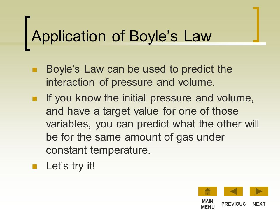 Application of Boyle's Law