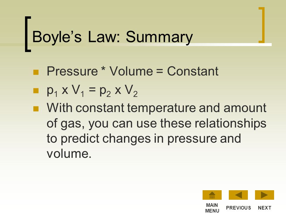 Boyle's Law: Summary Pressure * Volume = Constant p1 x V1 = p2 x V2