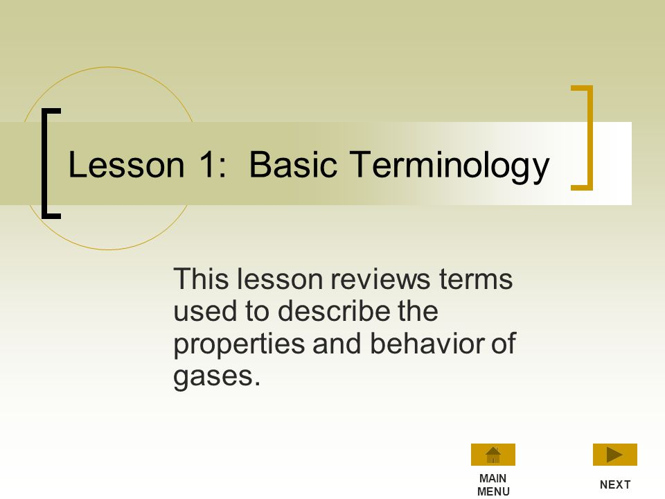 Lesson 1: Basic Terminology