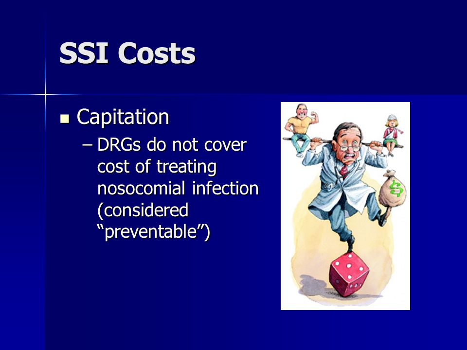SSI Costs Capitation. DRGs do not cover cost of treating nosocomial infection (considered preventable )