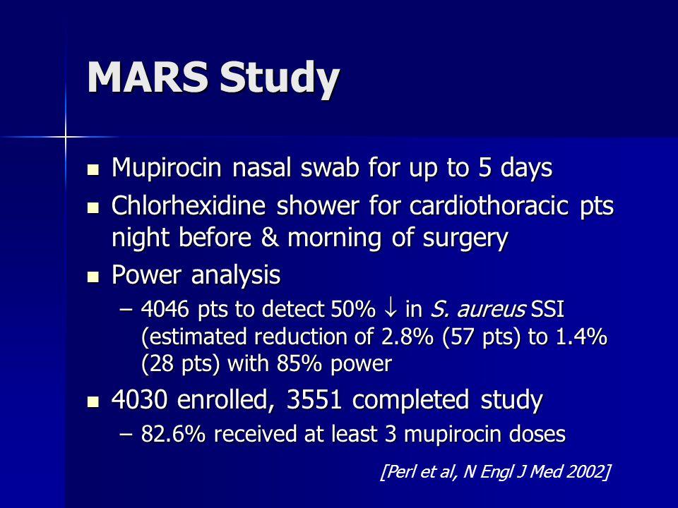 MARS Study Mupirocin nasal swab for up to 5 days