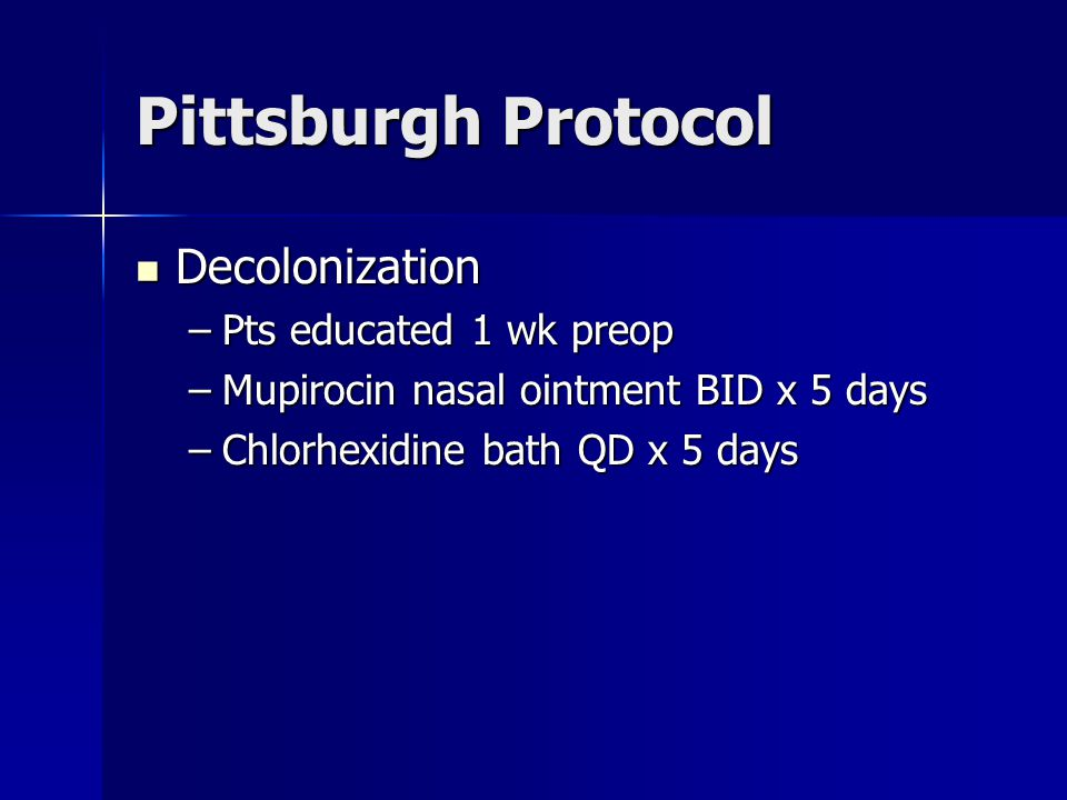 Pittsburgh Protocol Decolonization Pts educated 1 wk preop