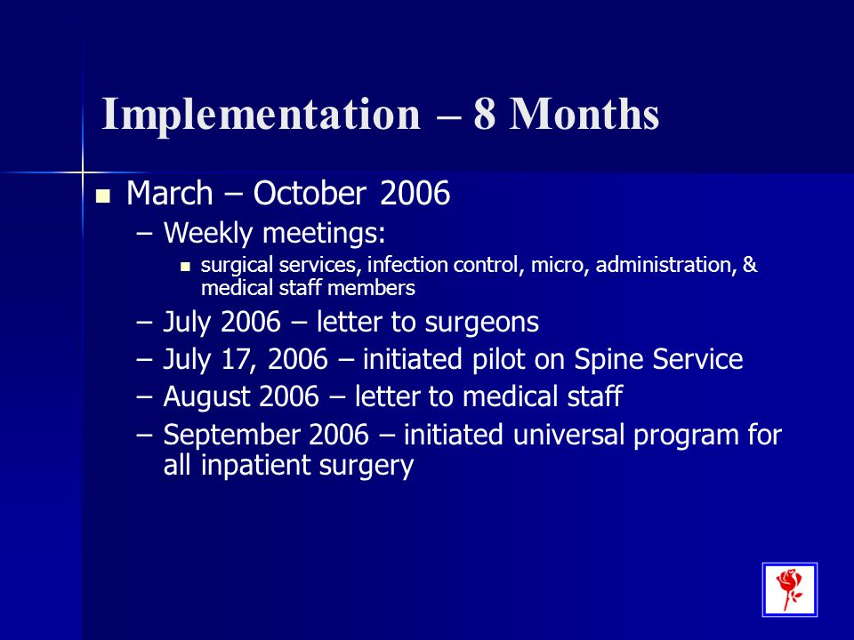 Implementation – 8 Months