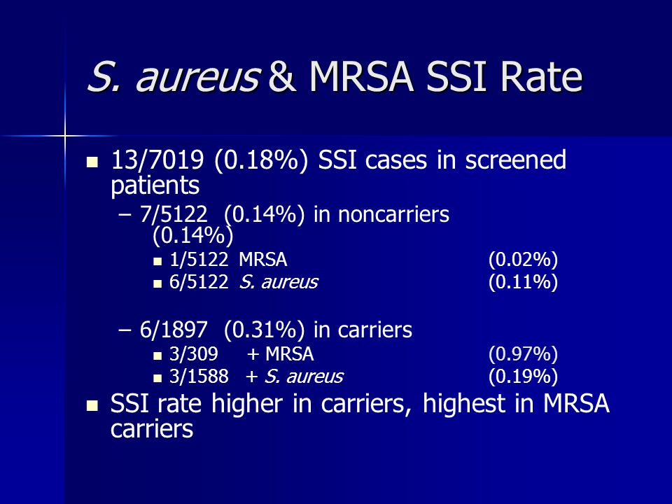 S. aureus & MRSA SSI Rate 13/7019 (0.18%) SSI cases in screened patients. 7/5122 (0.14%) in noncarriers (0.14%)