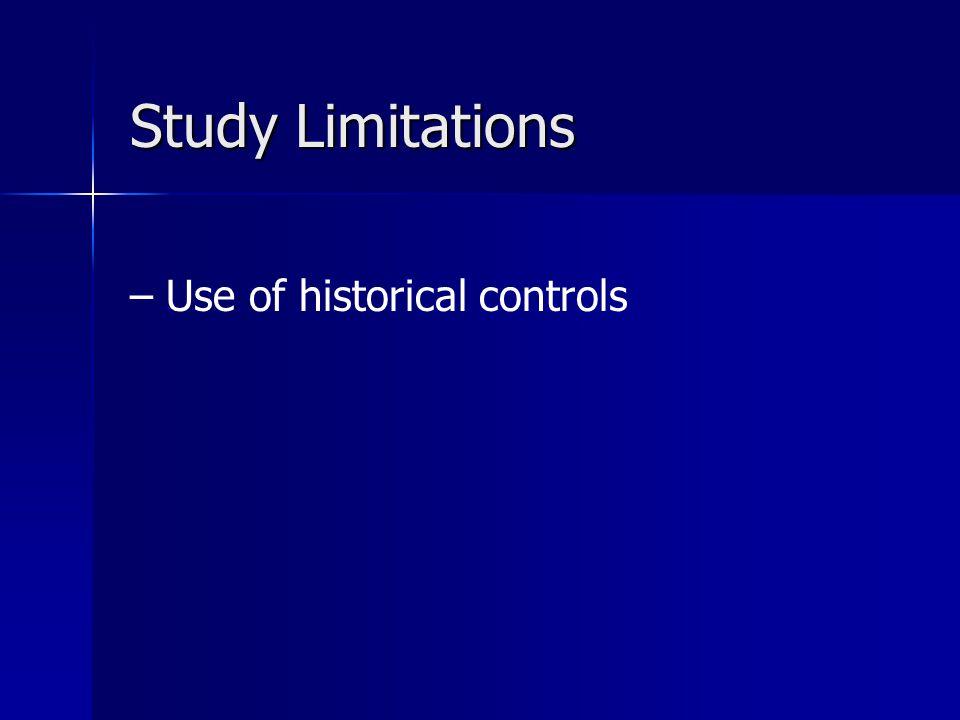 Study Limitations Use of historical controls 48