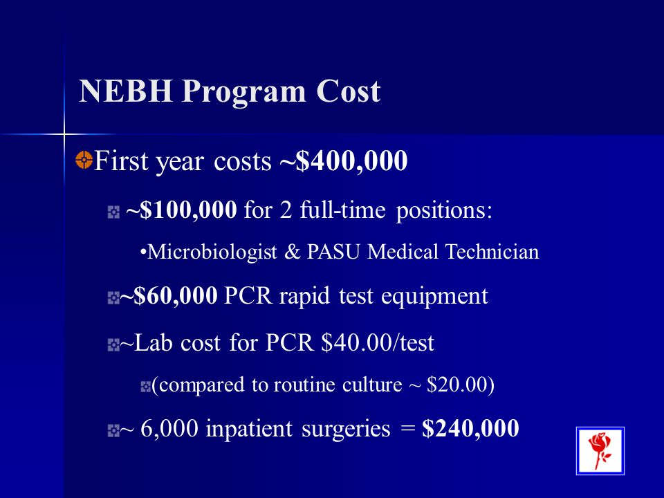 NEBH Program Cost First year costs ~$400,000