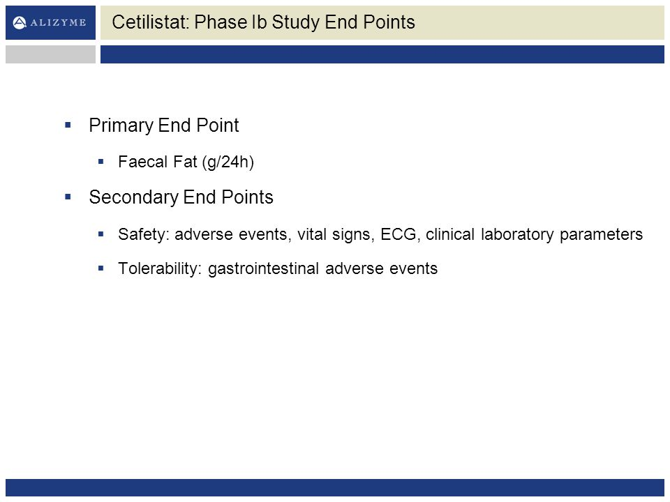 Cetilistat: Phase Ib Study End Points
