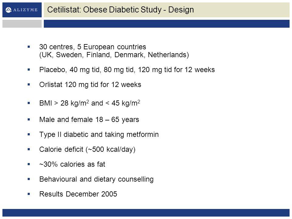 Cetilistat: Obese Diabetic Study - Design