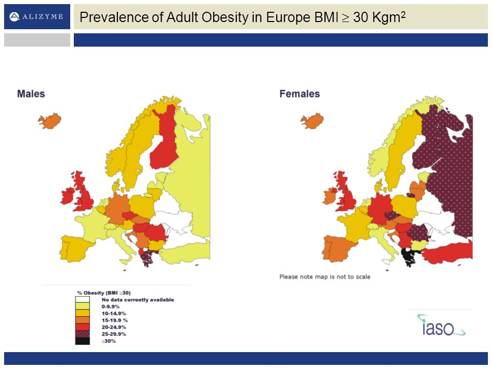 Prevalence of Adult Obesity in Europe BMI  30 Kgm2