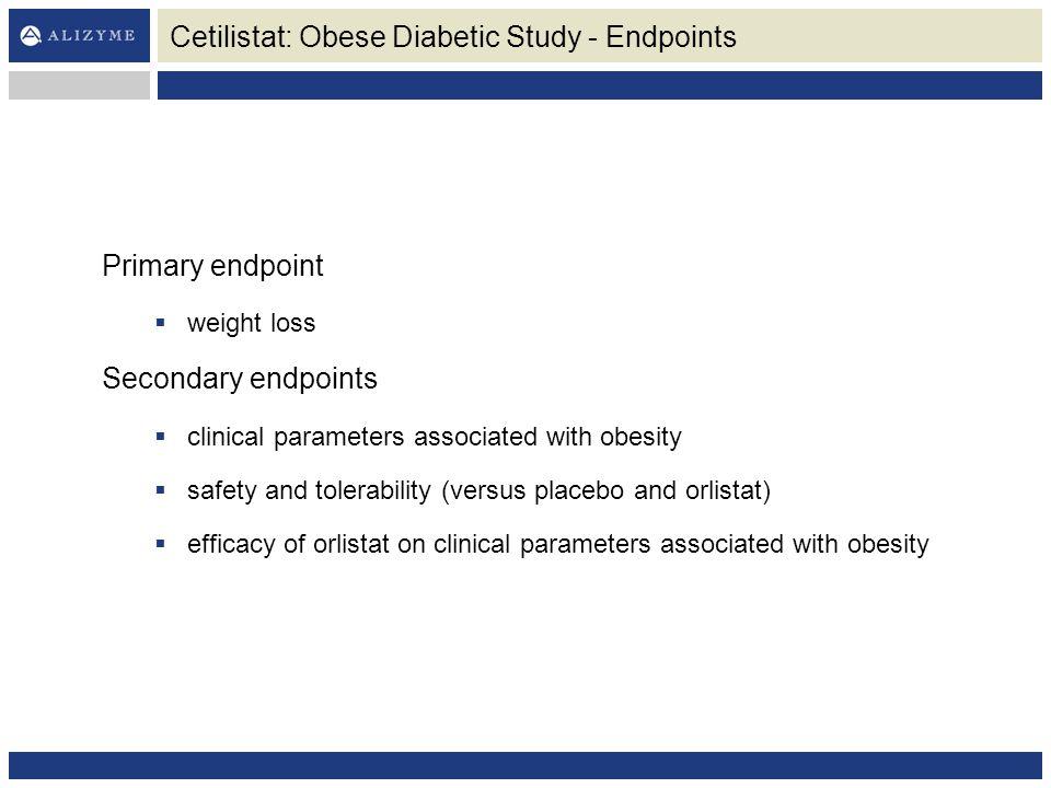 Cetilistat: Obese Diabetic Study - Endpoints