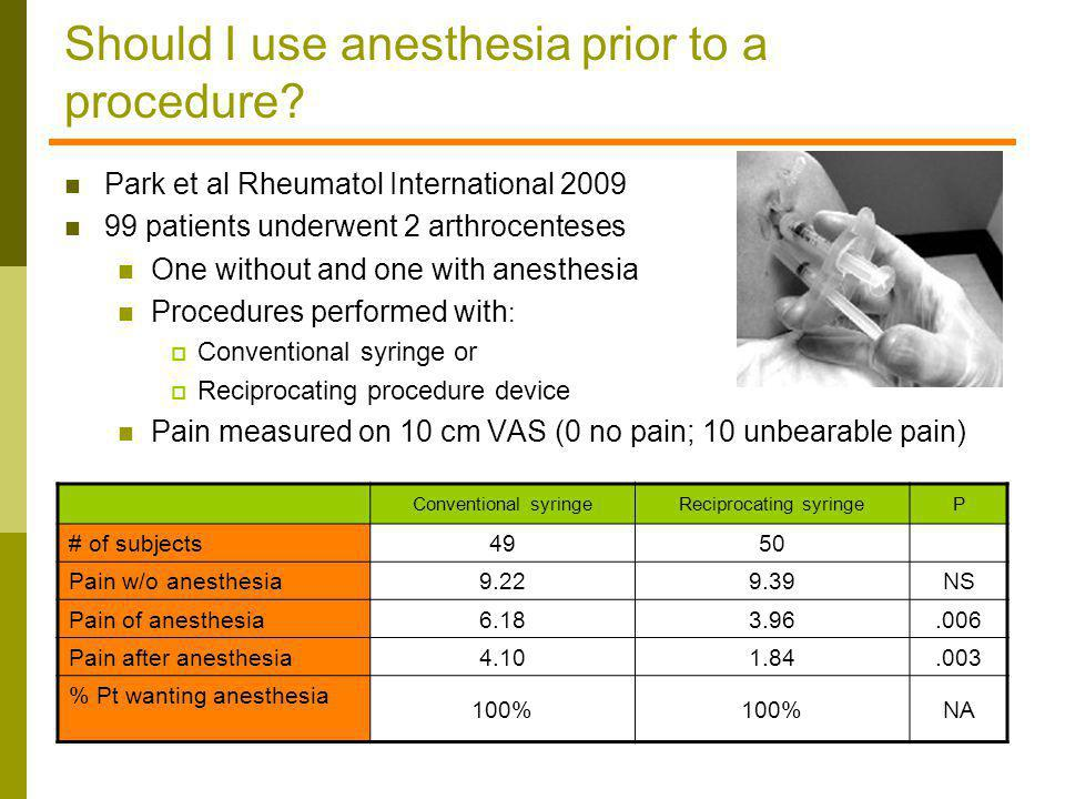 Should I use anesthesia prior to a procedure